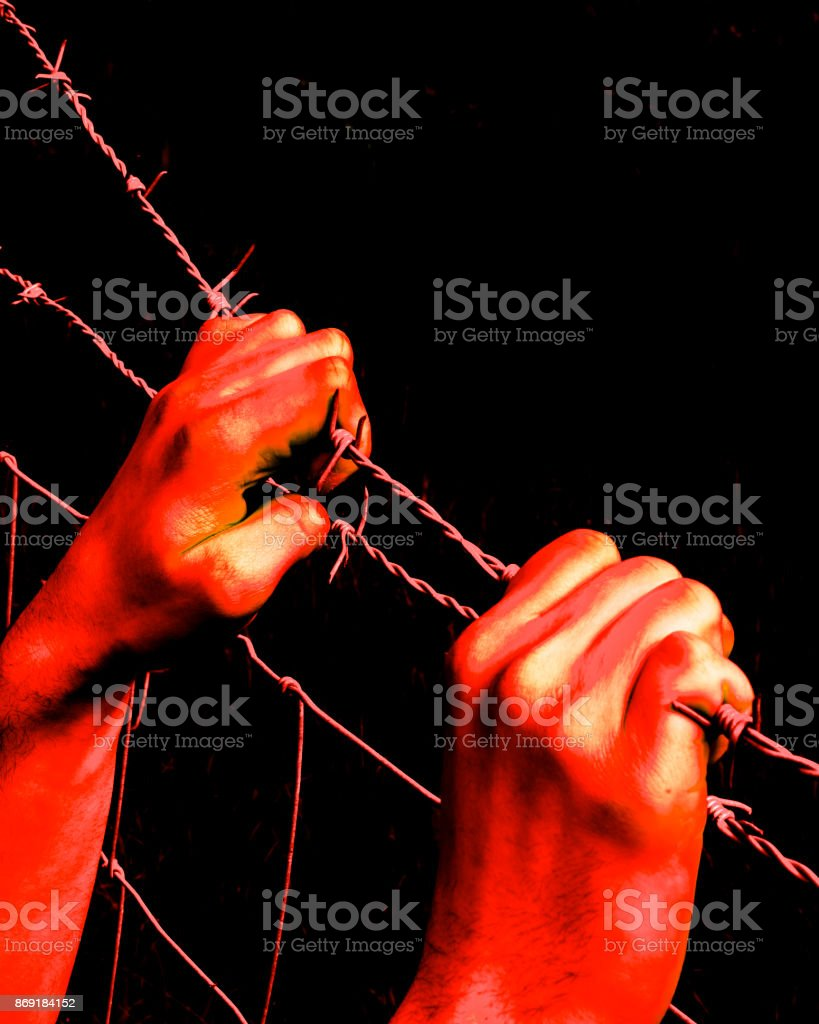 Artistic bloody hands grasping desperately barbed wire stock photo