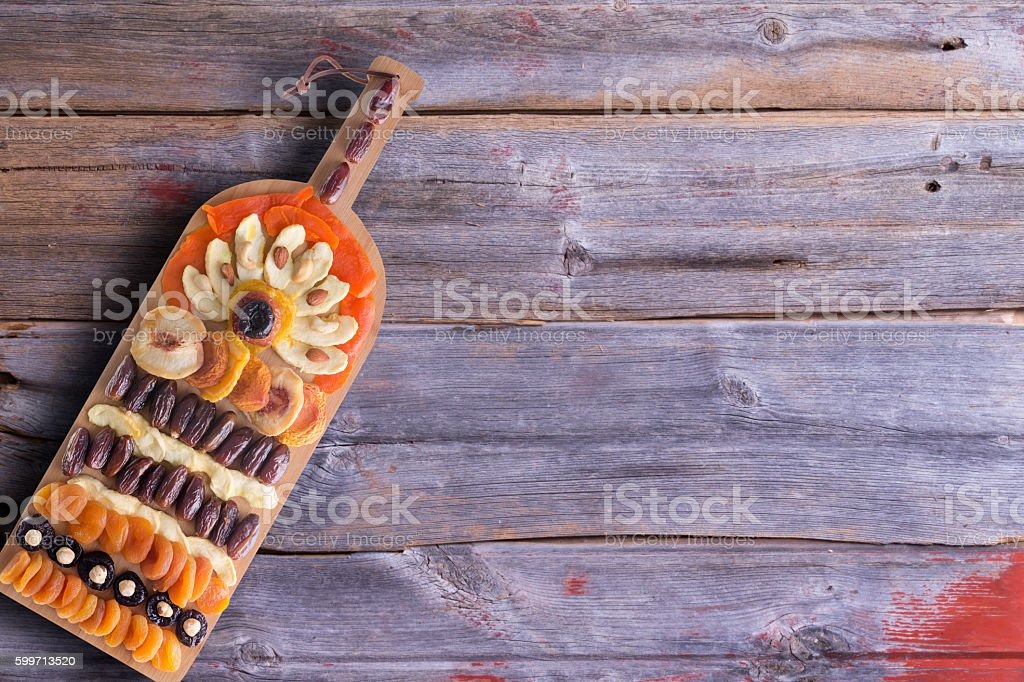 Artistic colorful arrangement of dried produce stock photo