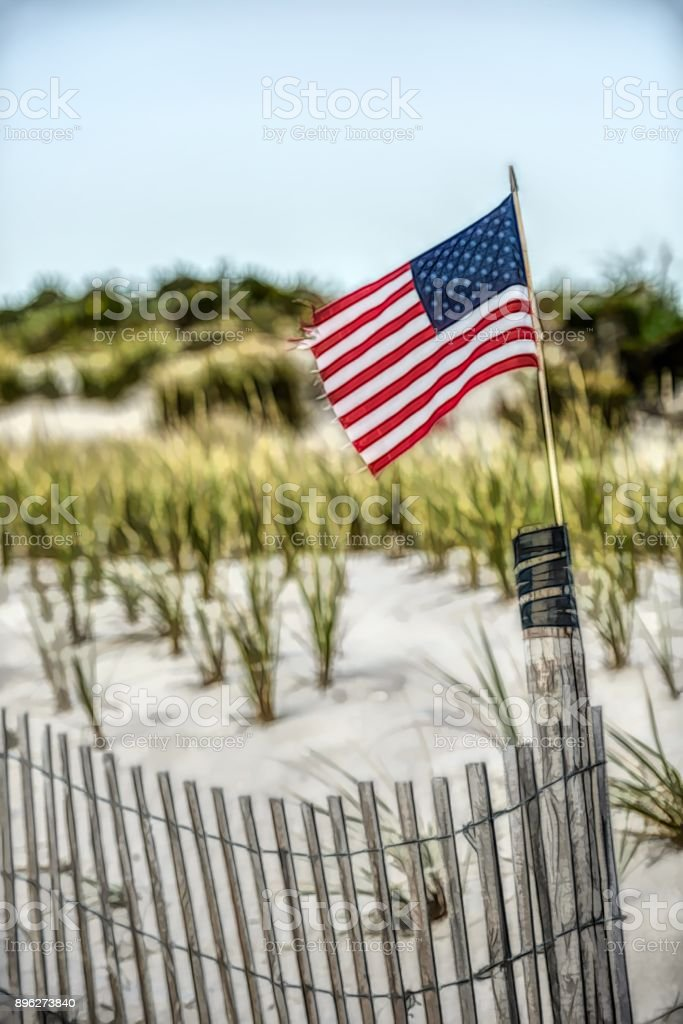 Artistic composition, American flag on the beach, Cape May, New Jersey stock photo