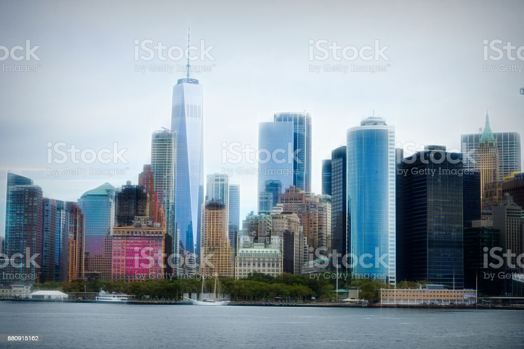 Artistic composition manhattan financial district, New York stock photo