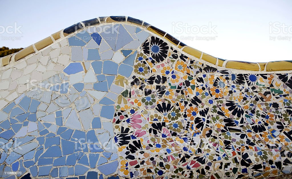 Artistic design called Tile by Parc Guell in Barcelona stock photo