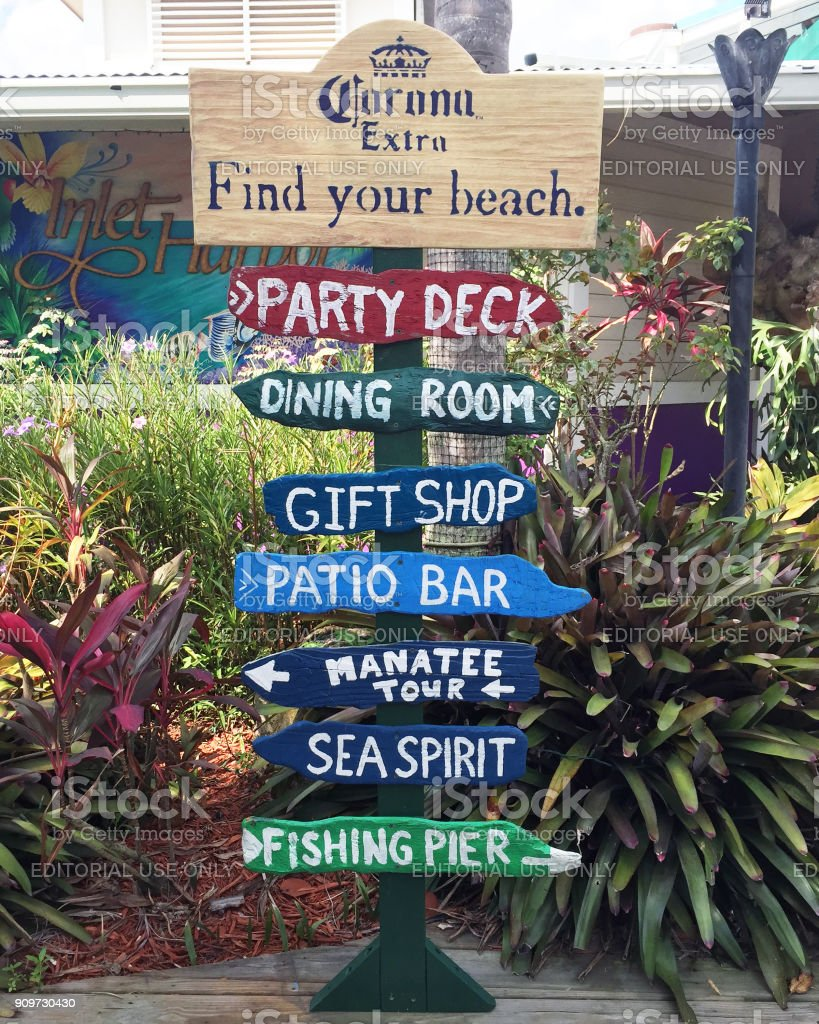 Artistic directional sign for tourists stock photo