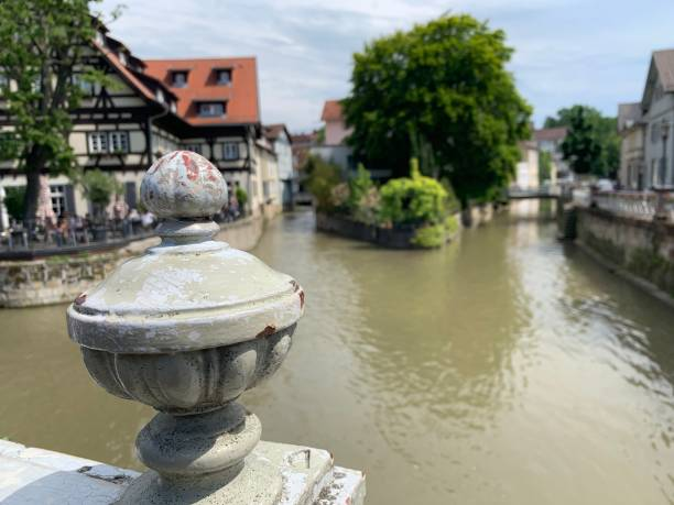 Artistic display of an old town and its river stock photo
