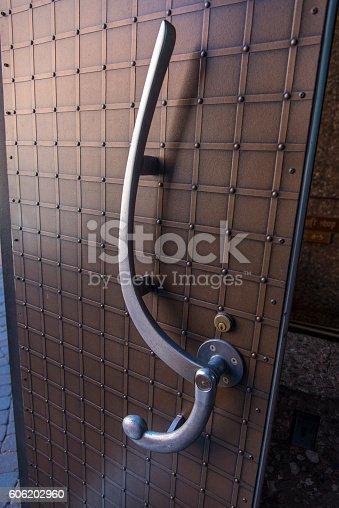Artistic door handle in Chapel of the Holy Cross in Arizona, USA