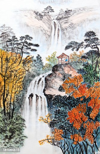 istock Artistic drawing of Chinese landscape 181084815