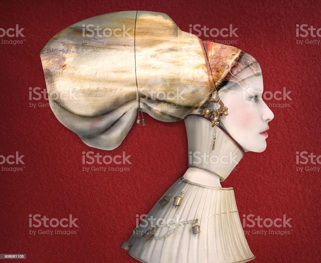Perfil de retrato artístico feminino - foto de acervo