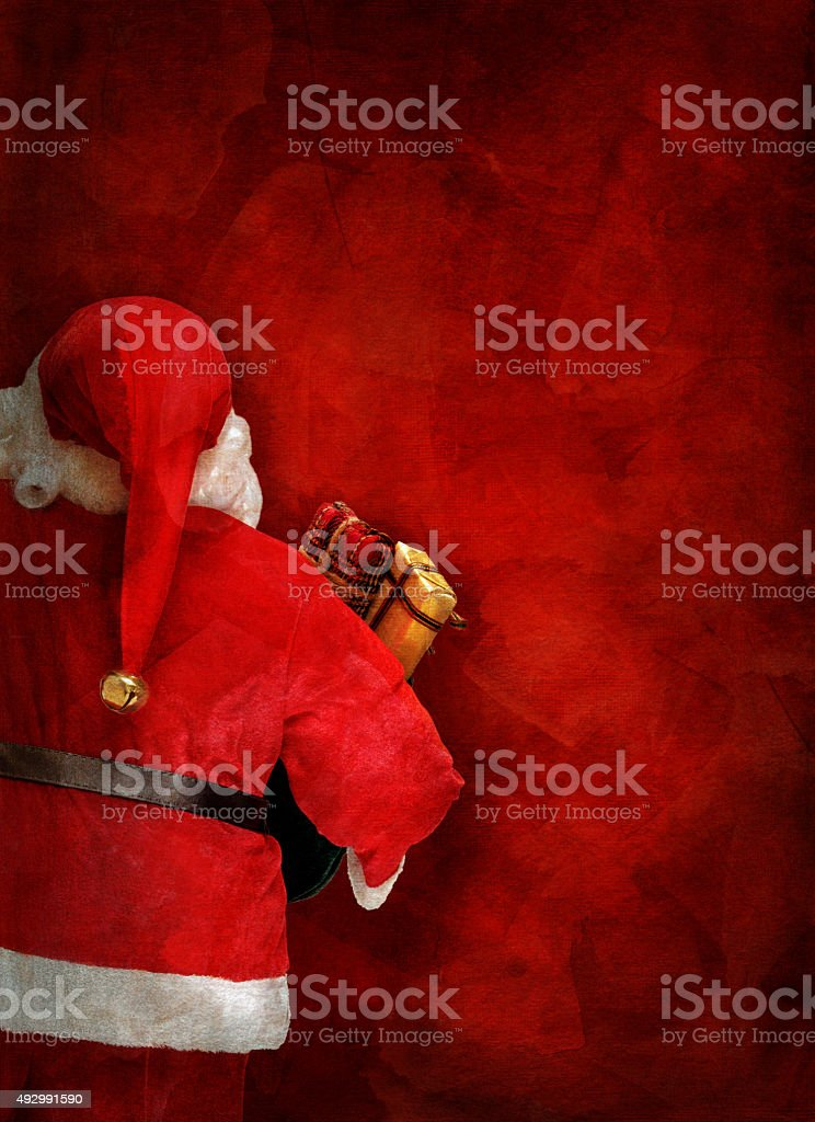 Artistic greeting card or poster design with Santa Claus doll stock photo