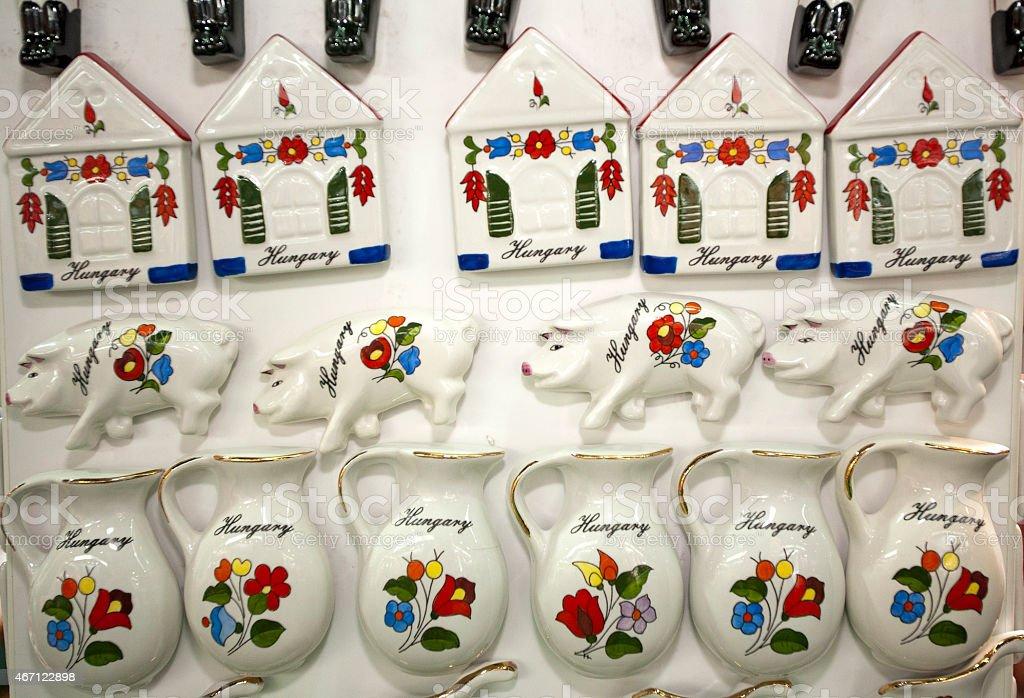 Artistic hungarian handmade porcelain china fridge magnets as so stock photo