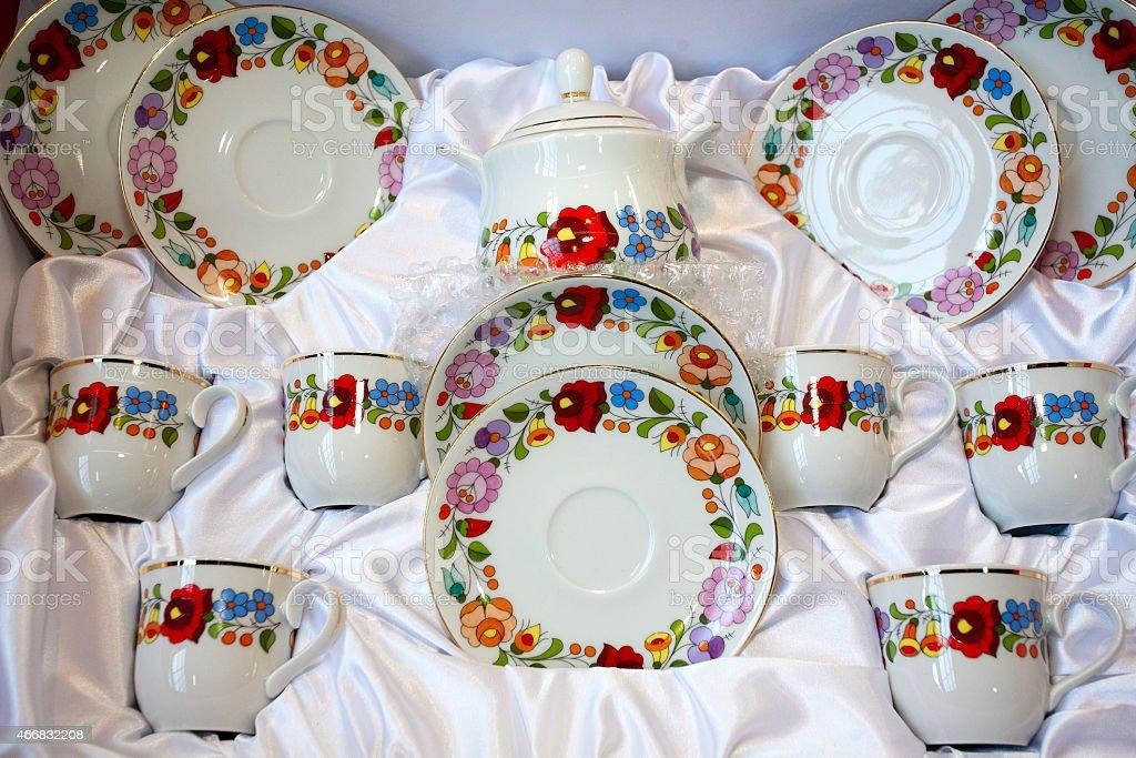 Artistic hungarian handmade porcelain china tableware stock photo