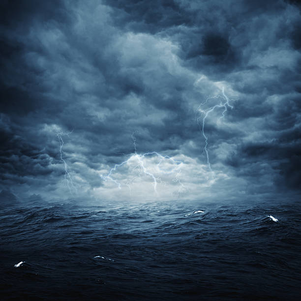 Artistic landscape photo of stormy weather over an ocean Stormy ocean, abstract natural backgrounds for your design major ocean stock pictures, royalty-free photos & images