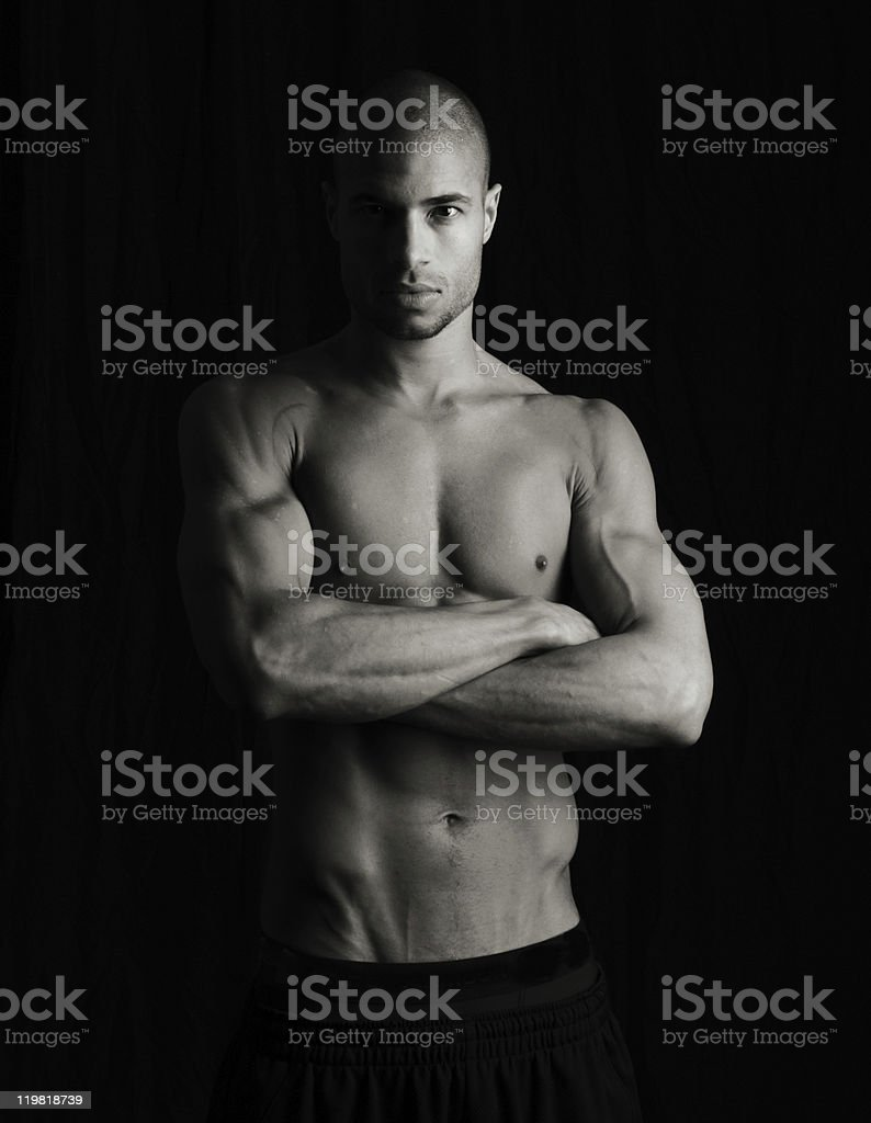Artistic low key fitness image stock photo