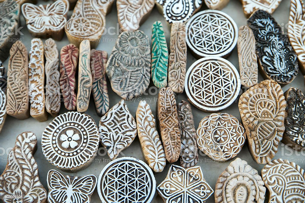 Artistic mold pieces etched in stone displayed near Gadisar Lake stock photo