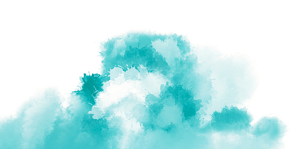 Artistic painting in shades of blue. Colorful paint splashes.