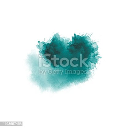 istock Artistic painting in shades of green and blue. Colorful paint splashes. Modern abstract art. 1193557453
