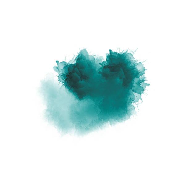yeşil ve mavi tonlarında sanatsal resim. renkli boya sıçramaları. modern soyut sanat. - tuval üzerine akrilik stok fotoğraflar ve resimler