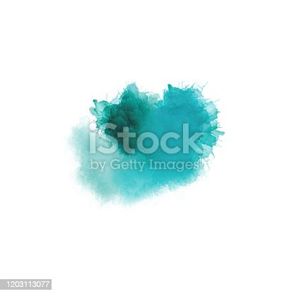 istock Artistic painting in shades of green and blue. Colorful paint splashes. Modern abstract art. 1203113077
