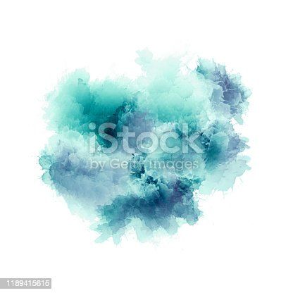 istock Artistic painting in shades of green , blue and purple. Colorful paint splashes. Modern abstract art. 1189415615