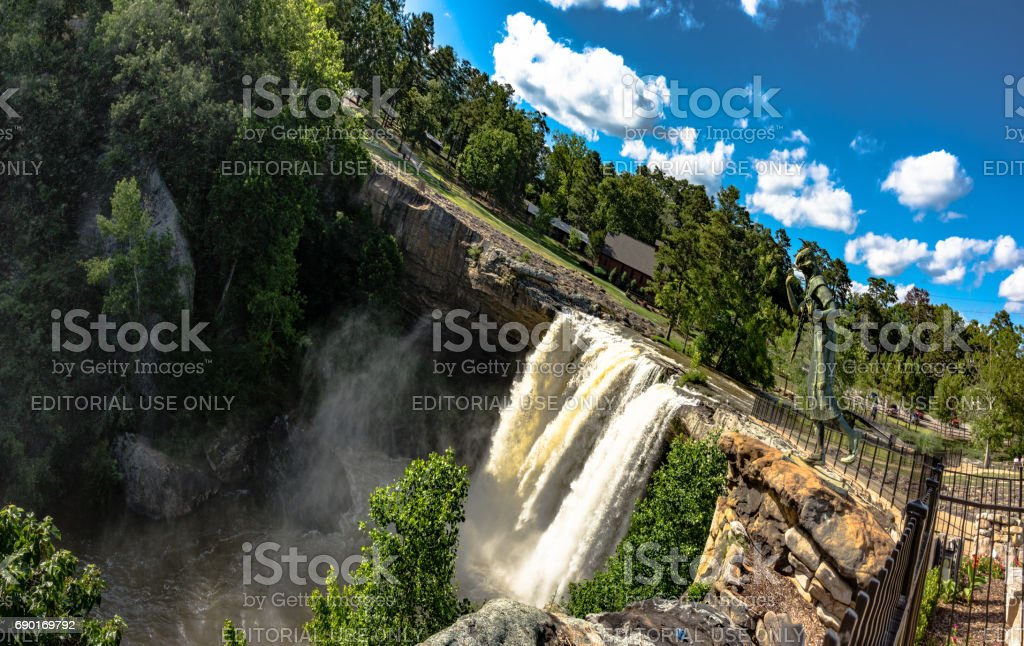 artistic panorma of Noccalula Falls stock photo