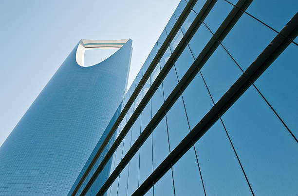 Artistic picture of a glass building in Saudi Arabia stock photo