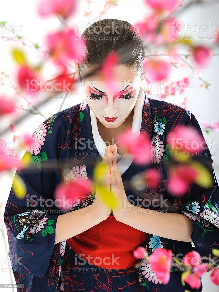 Artistic portrait of japan geisha woman with creative make-up stock photo