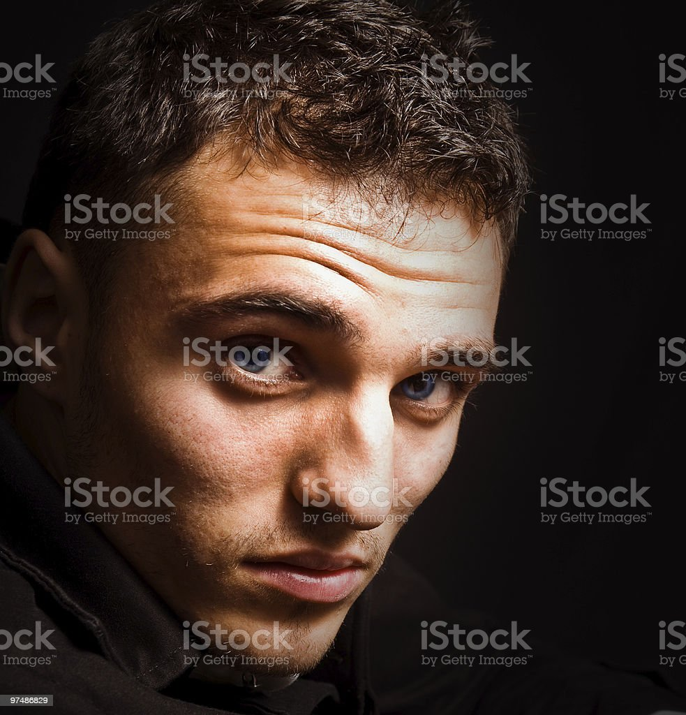 Artistic portrait of man with beautiful sensual eyes royalty-free stock photo