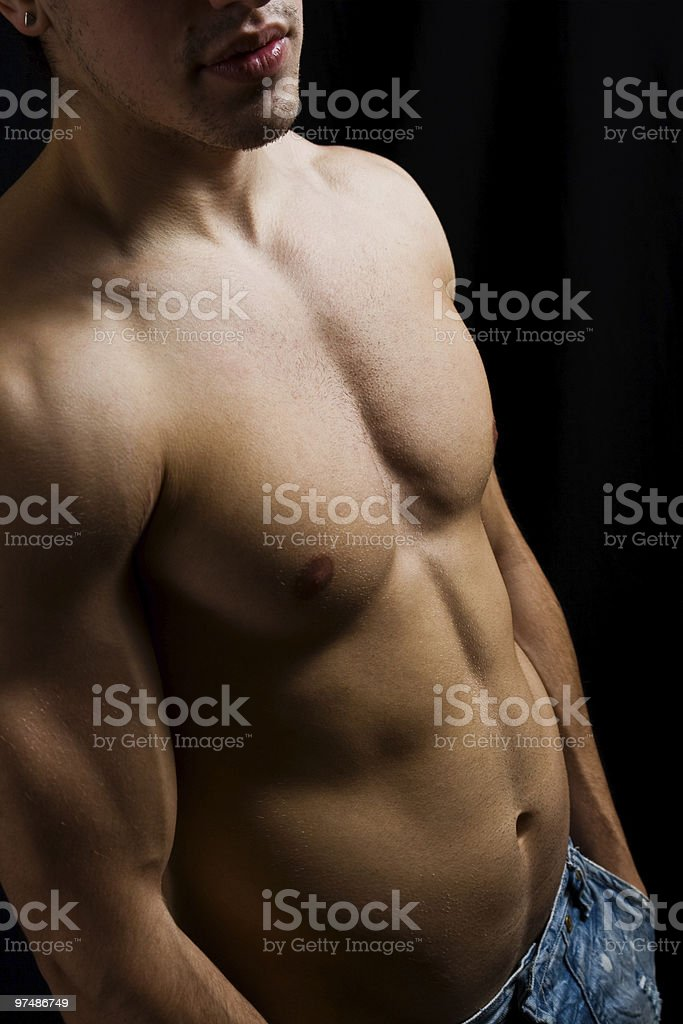 Artistic portrait of muscular male bodybuilder royalty-free stock photo