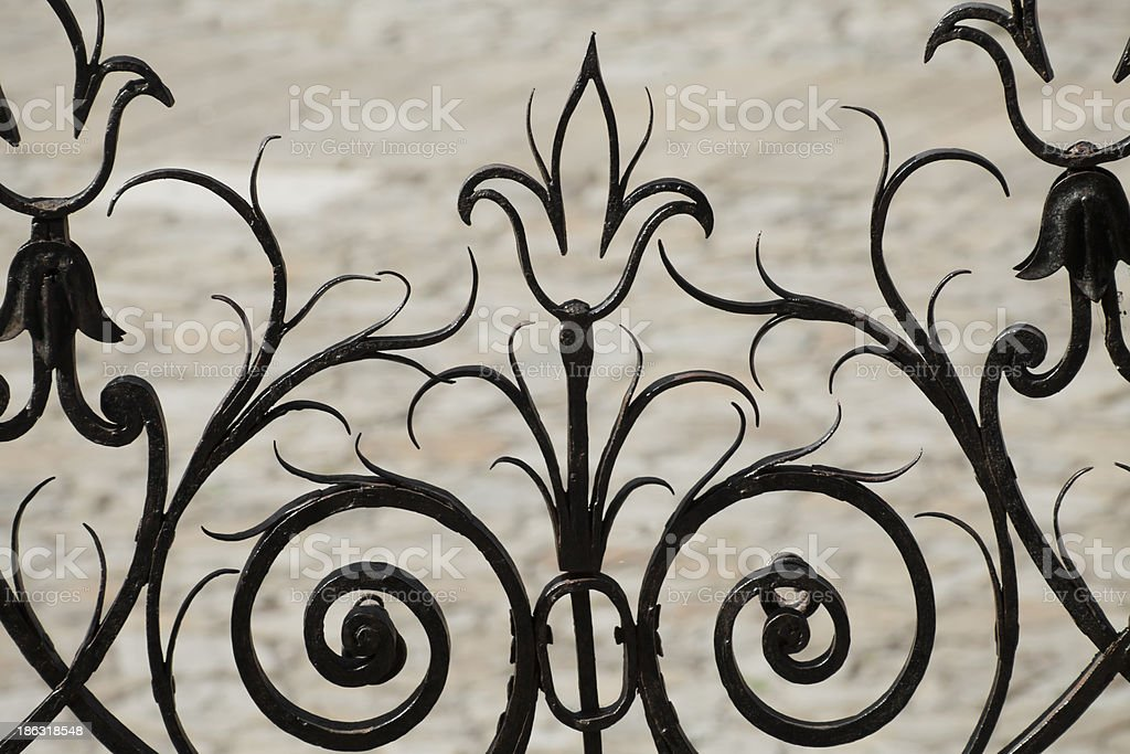 Artistic railing in Obradoiro square royalty-free stock photo