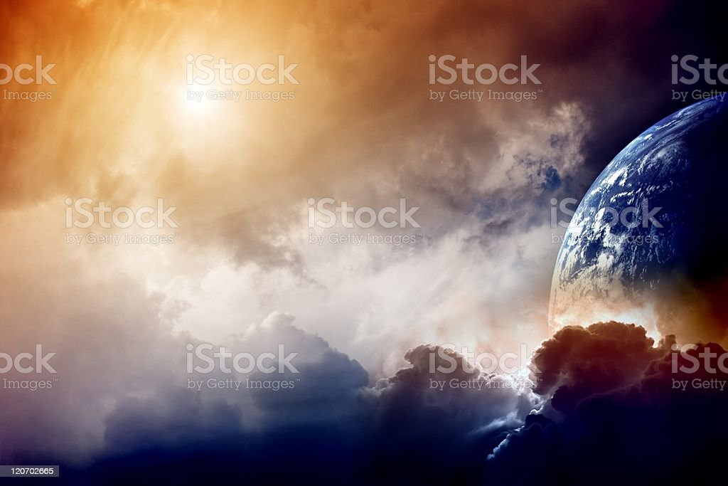Artistic rendition of Armageddon with the Earth and sky stock photo