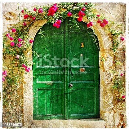charming weatheread old doors in Greek villages. Traditional Greece architecture