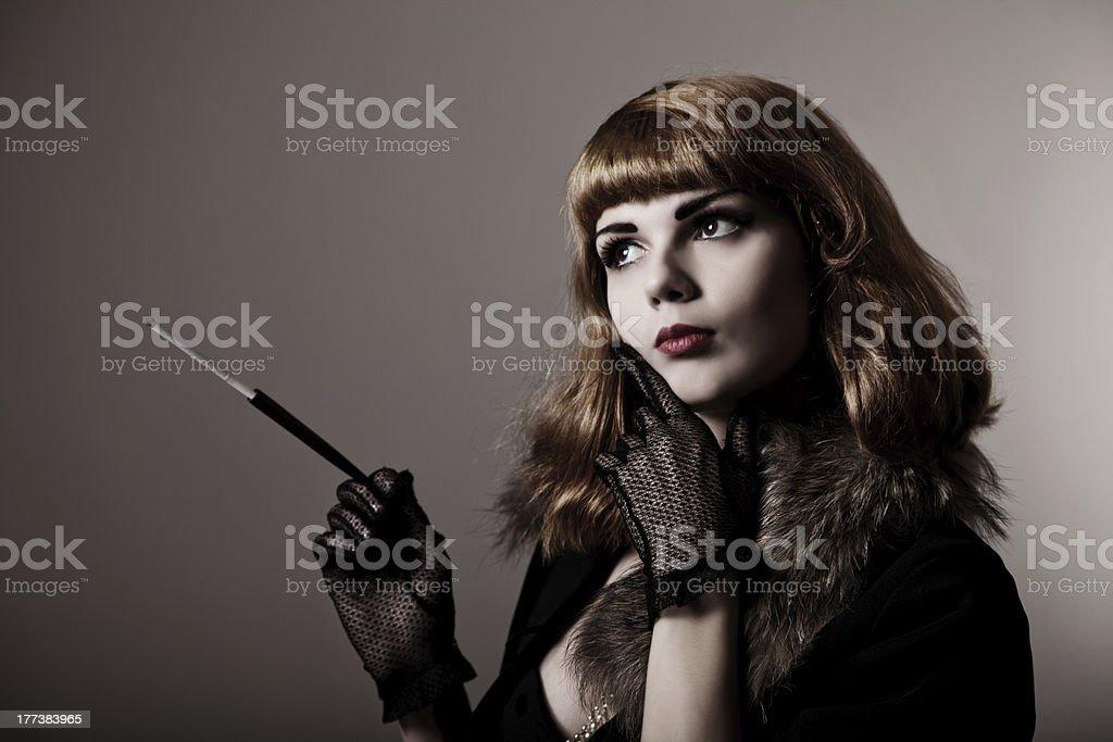 Artistic shot of attractive retro-woman stock photo