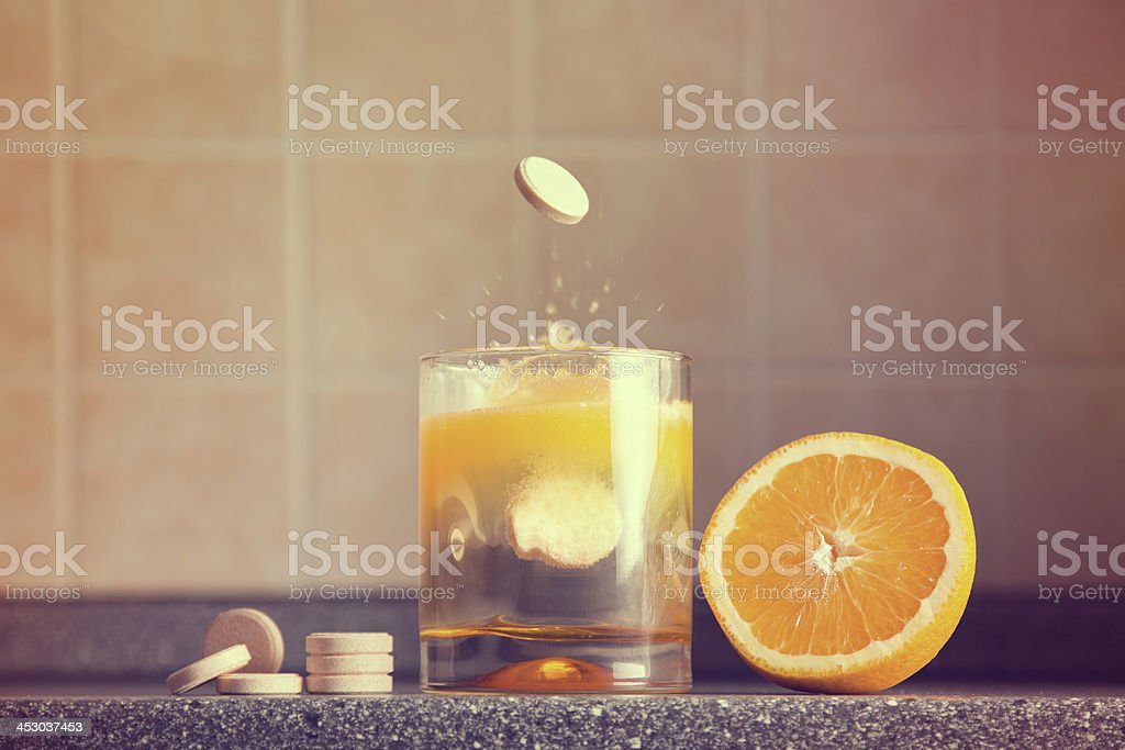 Artistic shot of vitamin C family stock photo