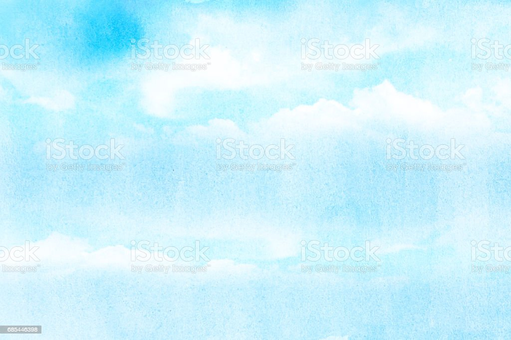 artistic soft cloud and sky with grunge watercolor texture stock photo