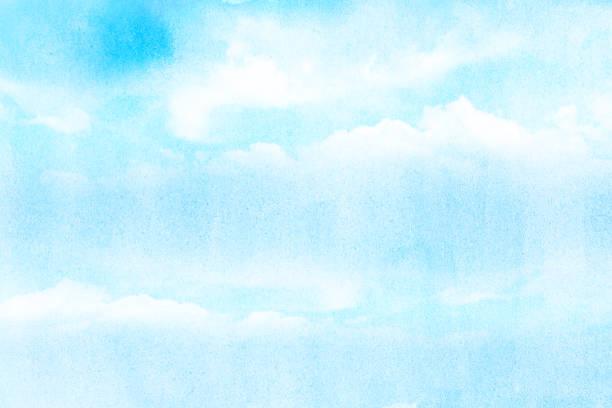 künstlerischen weichen wolken und himmel mit grunge aquarell textur - himmel bilder stock-fotos und bilder
