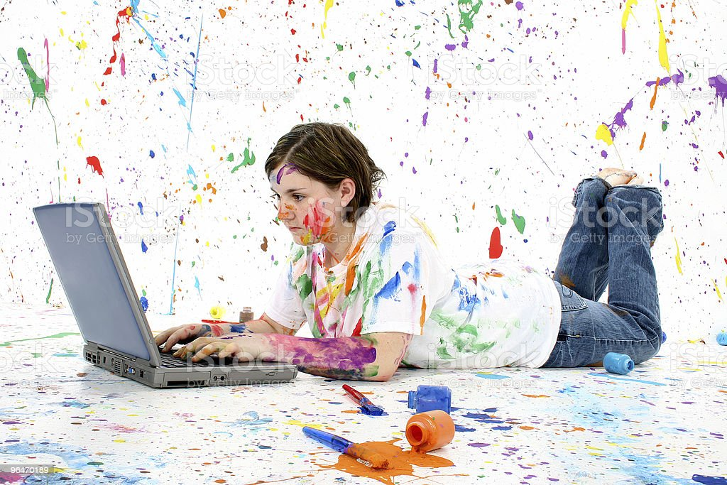 Artistic Teen With Laptop royalty-free stock photo
