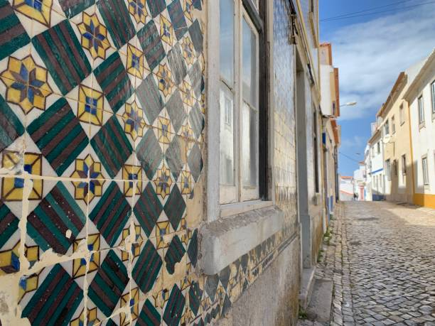 Artistic tiles of a house stock photo