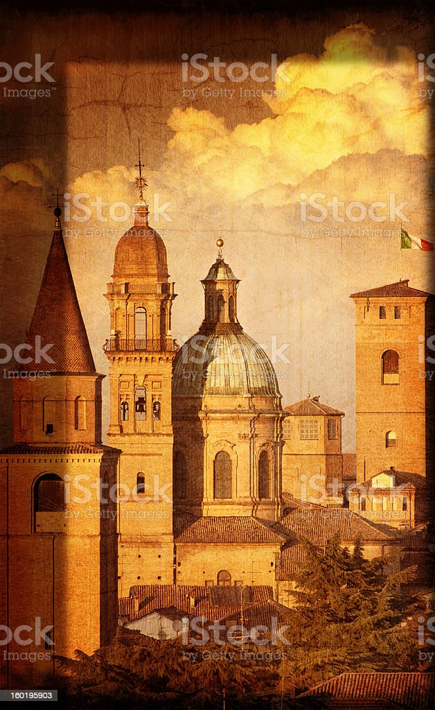 Artistic View of Italian Renaissance Churches and Towers royalty-free stock photo