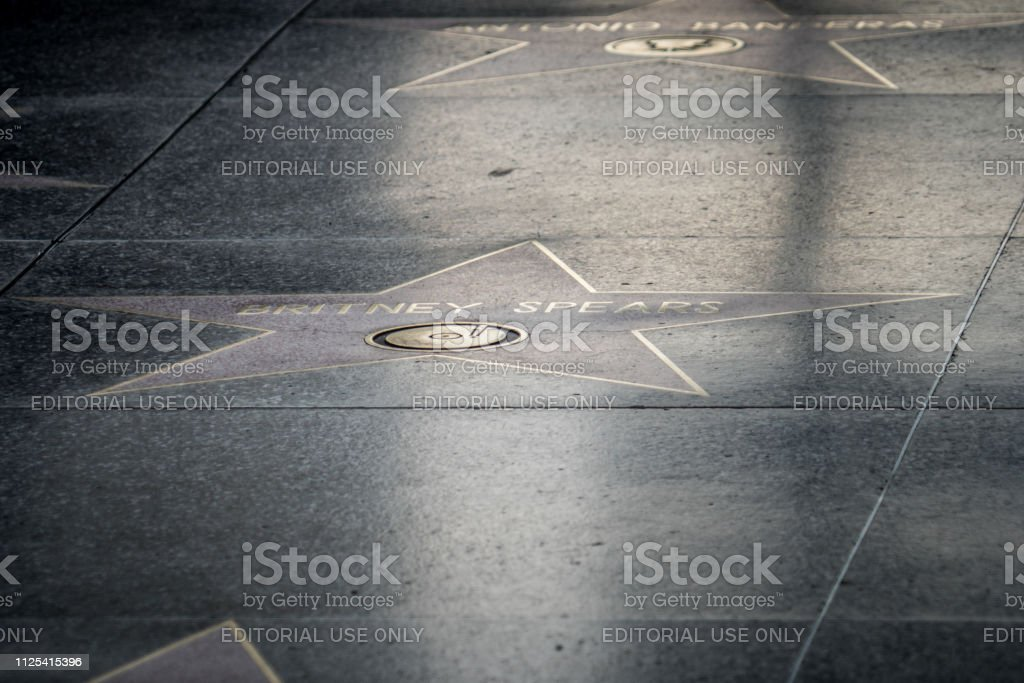 Artistic view of the Britney Spears star on the Hollywood Walk of Fame stock photo