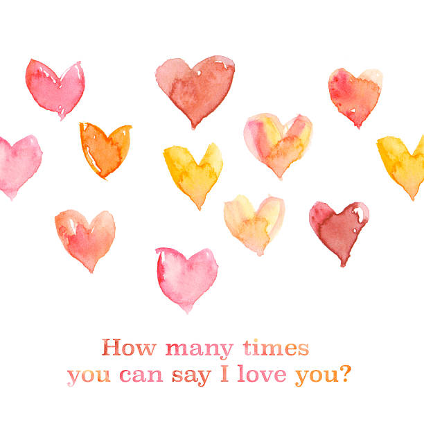 artistic watercolor love concept with assorted hearts illustrati – Foto