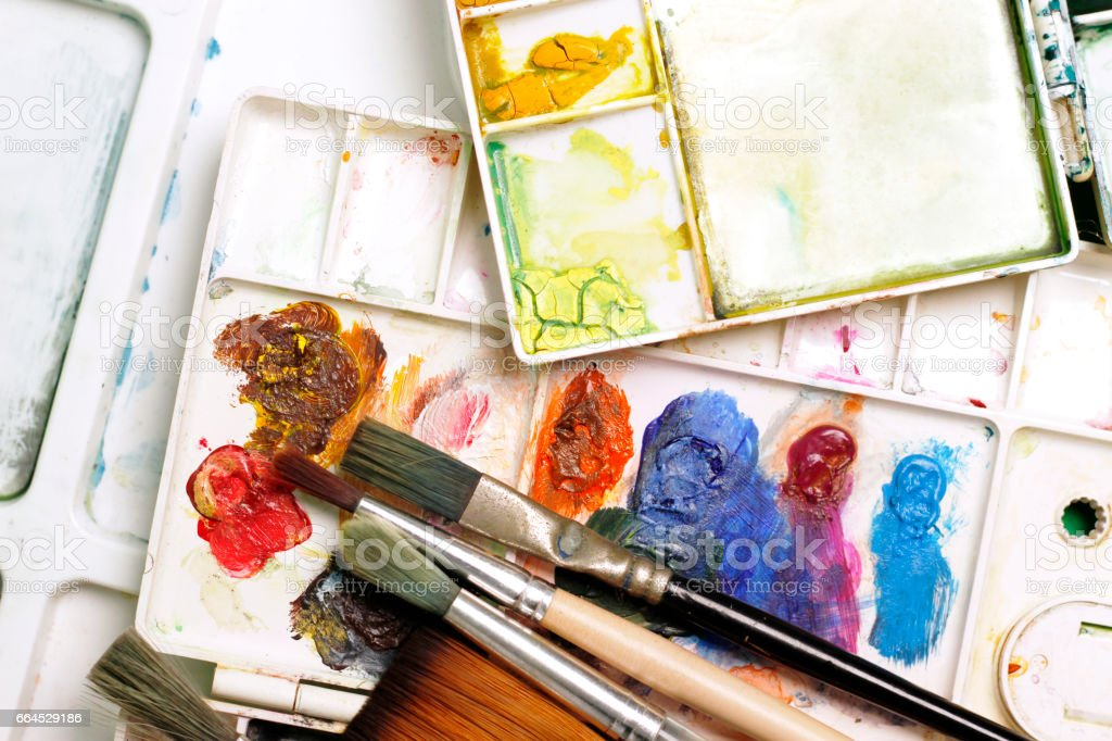Artists brushes and watercolor paints. royalty-free stock photo