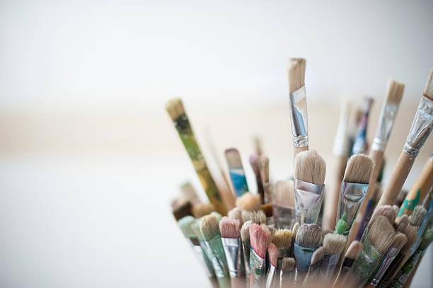 artist's brushes - stekels stockfoto's en -beelden