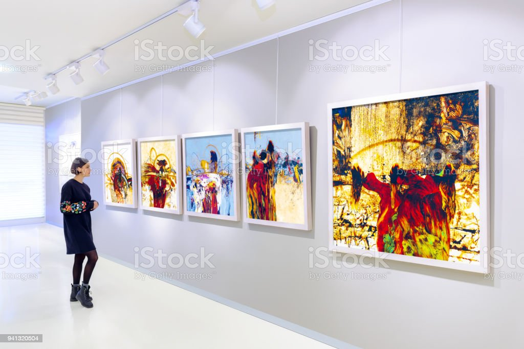 Artist's collection at showroom stock photo