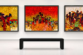 In a exhibition centre, Large size modern style fine art paintins,