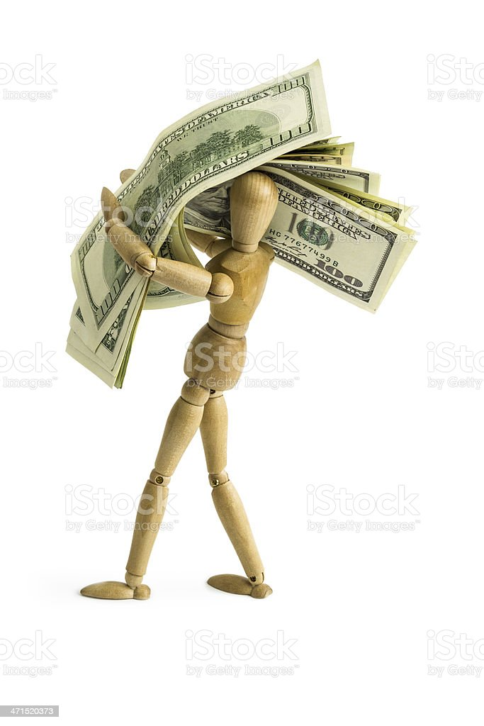 Artist's Figure carries a lot of money stock photo