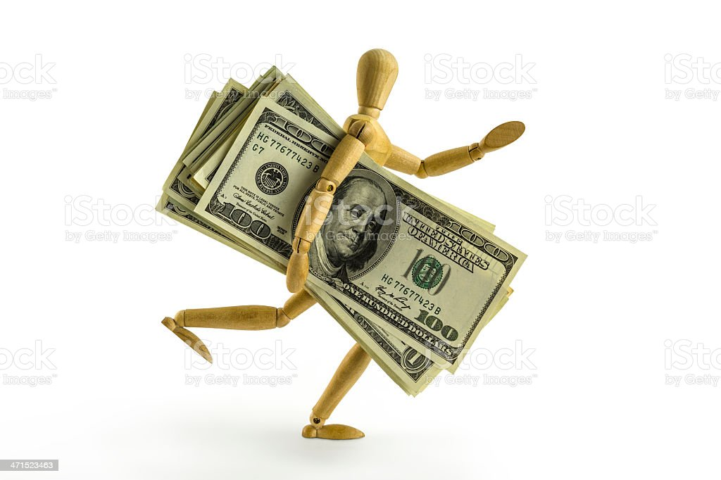 Artist's Figure running with a lot of money stock photo