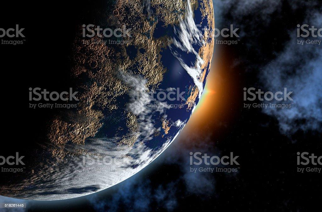 Artists impression of Planet Earth and Sun. stock photo