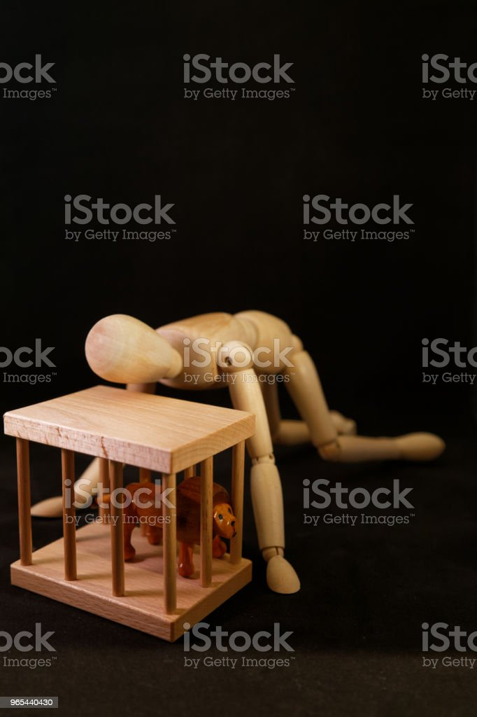 Artists mannequin kneeling beside a lion's cage royalty-free stock photo
