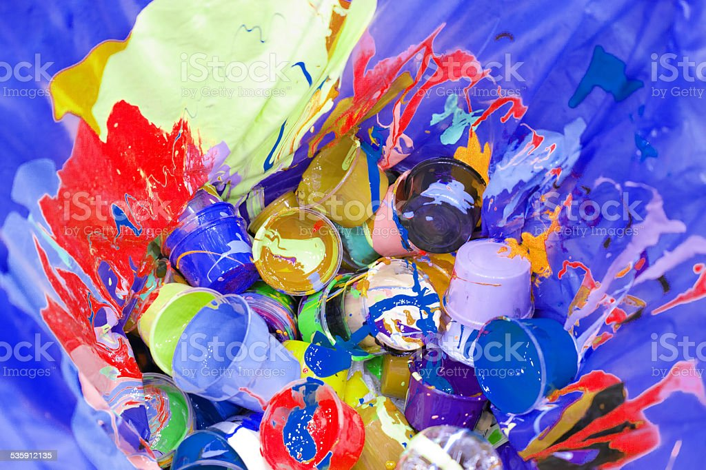 Artist's Mixed Media Garbage stock photo