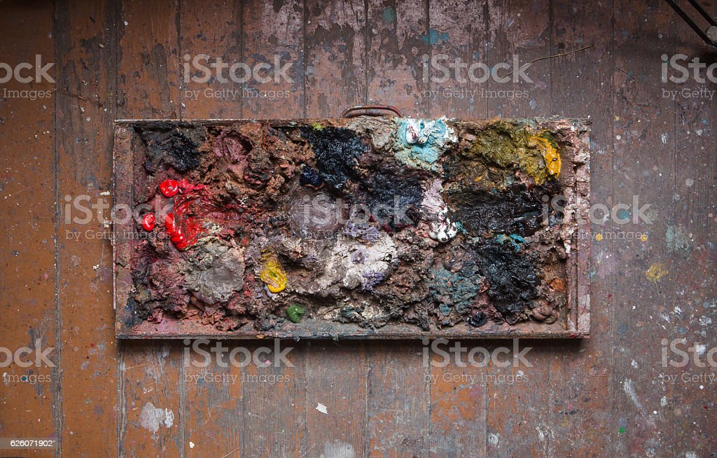 Artist's oil paint palette stock photo