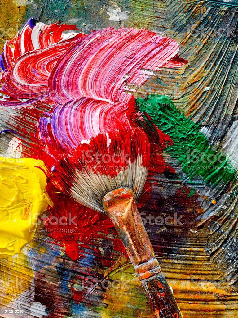 Artists Paint Palette and Brushes stock photo