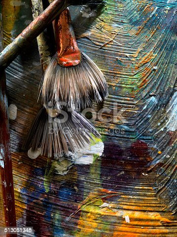 186199100istockphoto Artists Paint Palette and Brushes 513051348